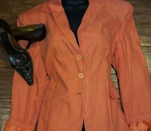 OSCAR de la RENTA Basics Orange Linen Blazer SZ34